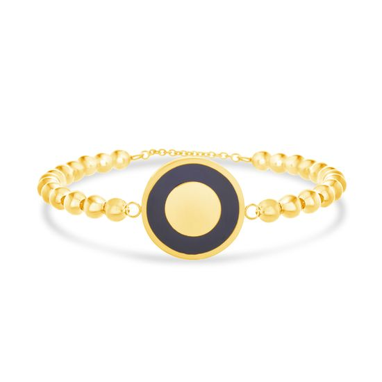Imagen de Gold-Tone Stainless Steel Black Enamel Round Disc Charm Beaded Bracelet