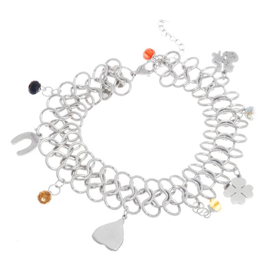 Imagen de Silver-Tone Stainless Steel Cubic Zirconia Beads Shamrock/Multi Charms Interlocked Links Bracelet