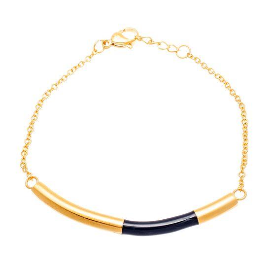 Imagen de Gold -Tone Stainless SteeL Black Enamel Curved Bar Cable Chain Bracelet