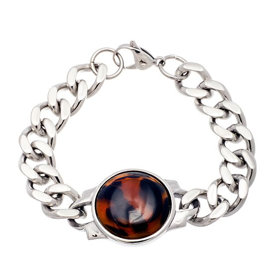 Imagen de Silver-Tone Stainless Steel Round Tortoise Stone Charm Curb Chain Bracelet