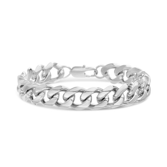 Picture of Men's Silver-Tone Stainless Steel Thick Polished Curb Chain Bracelet