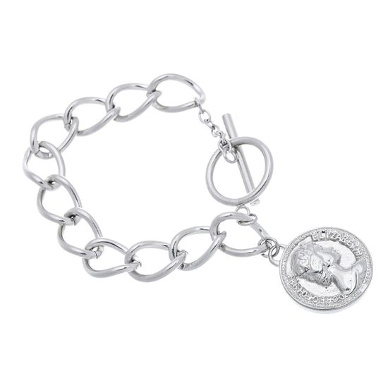 Imagen de Silver-Tone Stainless Steel Coin Disc Toggle Bracelet