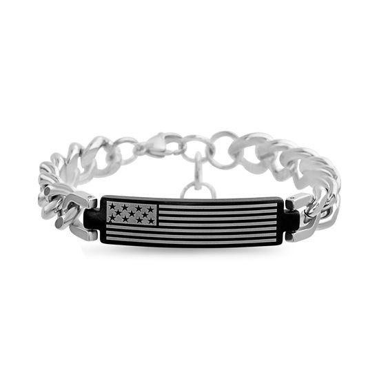 Imagen de Men's Stainless Steel American Flag ID Plate Curb Chain Bracelet