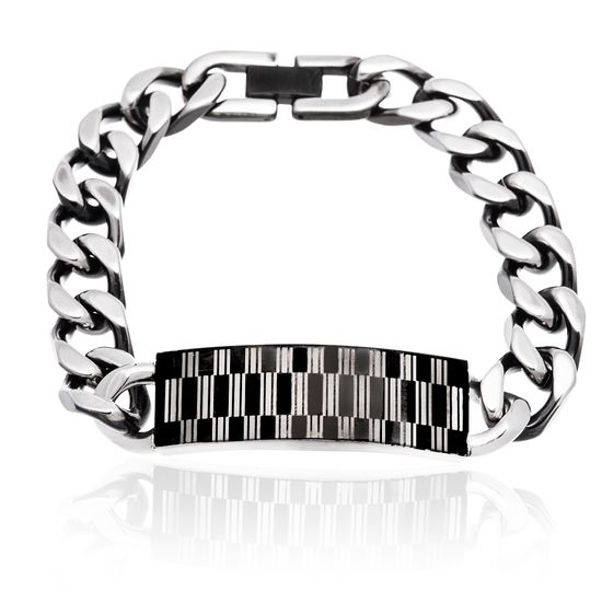 Picture of Men's Two-Tone Stainless Steel Black IP And Rectangle Design ID Plate 8.5 Bracelet