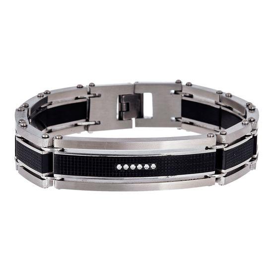 Imagen de Two-Tone Stainless Steel Cubic Zirconia Textured ID Bar Link Bracelet