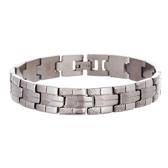 Imagen de Silver-Tone Stainless Steel Men's Arrow Textured and Polished Link Bracelet