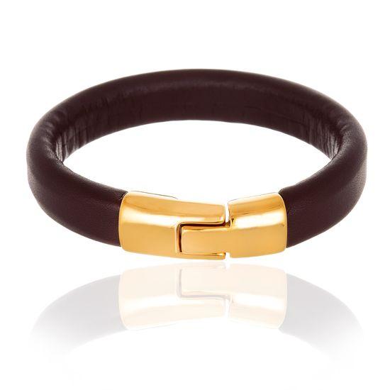 Imagen de Men's Gold-Tone Stainless Steel Polished Lock Brown Leather Bracelet