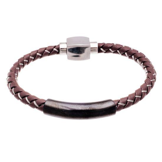 Imagen de Two-Tone Stainless Steel Men's IP Bar Brown Braided Leather Bracelet