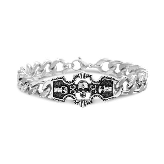 Imagen de Men's Stainless Steel With Black Enamel Skull Cross Curb Chain Bracelet