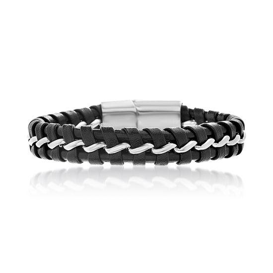 Imagen de Men's Silver-Tone Stainless Steel Black Leather Magnetic Bracelet