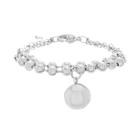 Imagen de Silver-Tone Stainless Steel Polished Ball Charm Bead/Cable Chain Bracelet