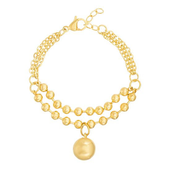 Imagen de Gold-Tone Stainless Steel IP Ball Charm 4.5  Bracelet