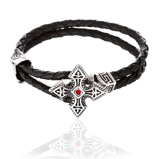 Imagen de Silver-Tone Stainless Steel Cubic Zirconia Cross Loop Leather Bracelet