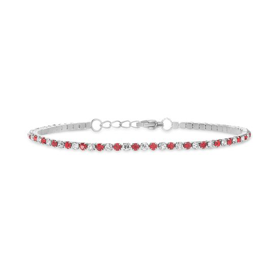 Imagen de Silver-Tone Stainless Steel Ruby Red/Clear Crystal Tennis Bracelet
