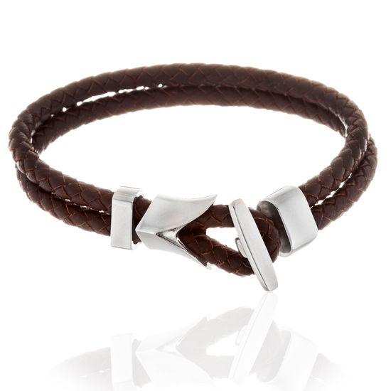 Picture of Men's Silver-Tone Stainless Steel Anchor And Brown Double Strand Leather Bracelet