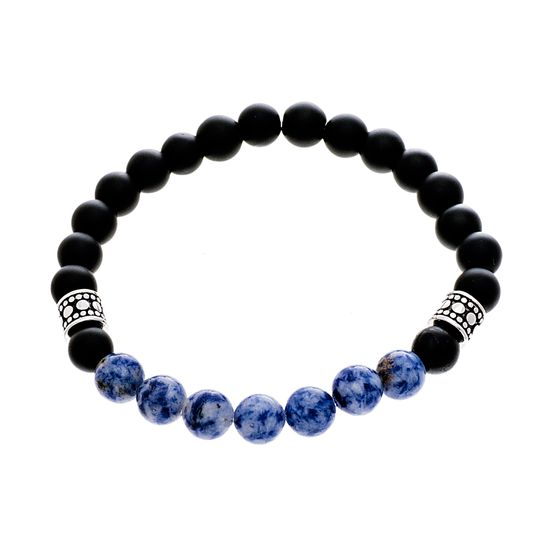 Imagen de Silver-Tone Stainless Steel Mens Textured Cylinder Charm and Sodalite/Black Bead 7.5 Stretch Bracelet
