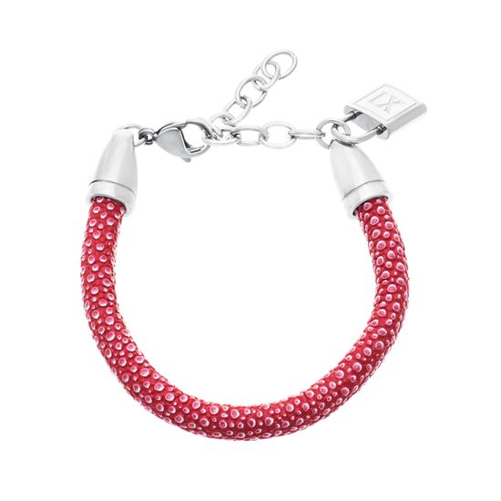 Picture of Silver-Tone Stainless Steel XI  Lock Charm Red Leather Bracelet