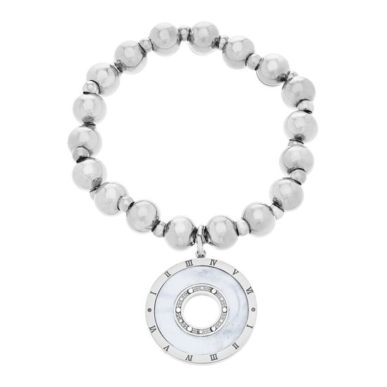 Imagen de Silver-Tone Stainless Steel Freshwater Pearl Ball Beaded Open Circle Disc with Roman Numerals Charm Bracelet