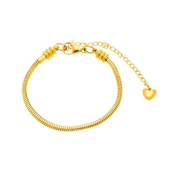 Imagen de Gold-Tone Stainless Steel Round Snake Chain Bracelet