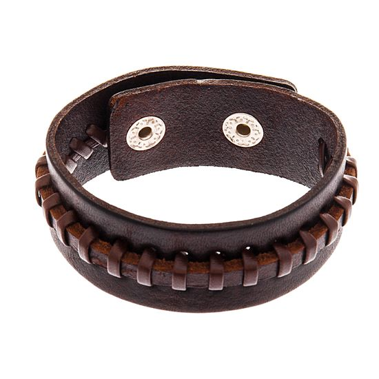 Imagen de Men's Silver-Tone Stainless Steel Brown Leather Bracelet