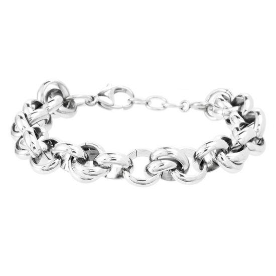 Imagen de Silver-Tone Stainless Steel Interlocking Rings 7.75 Bracelet