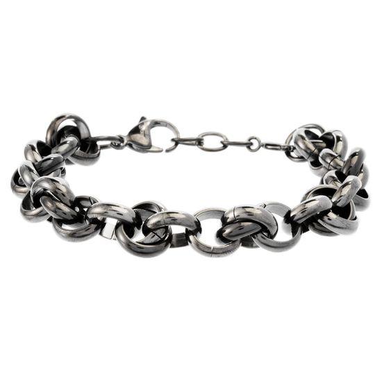 Imagen de Black-Tone Stainless Steel Interlocked Rings Bracelet