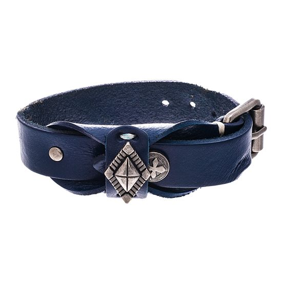Imagen de Silver-Tone Stainless Steel Textured Diamond And Cross Charm Leather Bracelet