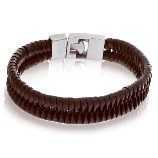 Imagen de Silver-Tone Stainless Steel Braided Brown Leather Bracelet
