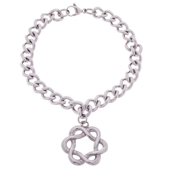 Picture of Silver-Tone Stainless Steel Infinite Knot Flower Charm Curb Chain Bracelet