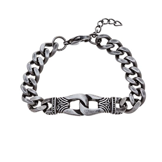 Picture of Silver-Tone Stainless Steel Oxidized Textured Interlocked Links Curb Chain Bracelet