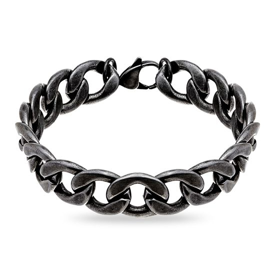 Imagen de Stainless Steel Oxidized Curb Chain Bracelet
