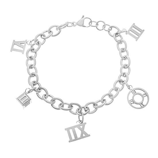 Imagen de Silver-Tone Stainless Steel Roman Numeral Multi Charm Bracelet