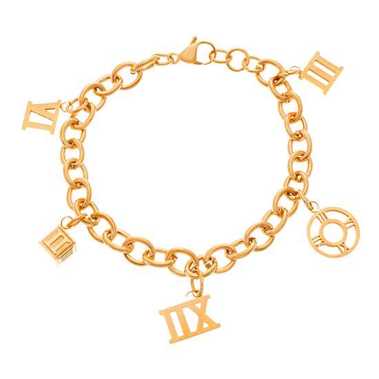 Imagen de Gold-Tone Stainless Steel Roman Numeral Multi Charm Bracelet