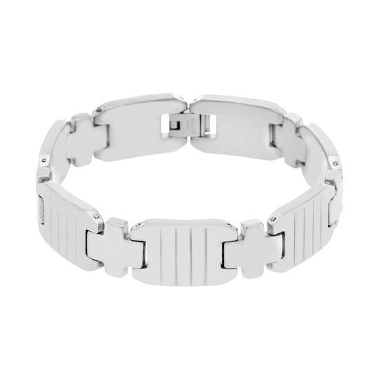 Imagen de Men's Silver-Tone Stainless Steel Cross And Ribbed Links  Bracelet