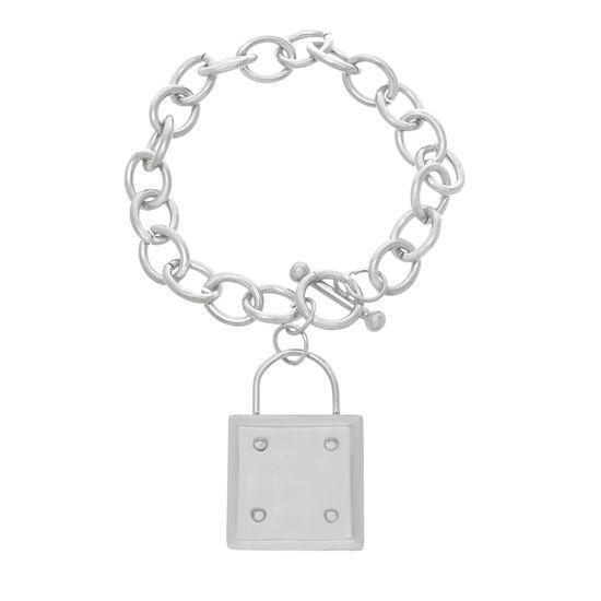 Imagen de Silver-Tone Stainless Steel Dangling Rolo Toggle Bracelet