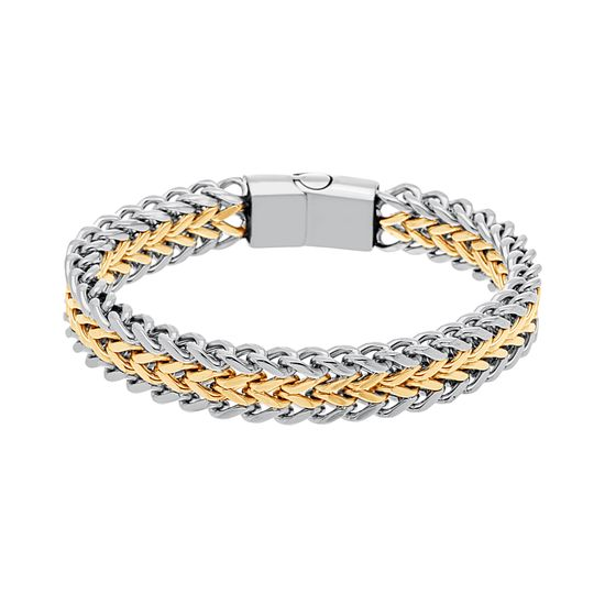 Imagen de Two-Tone Stainless Steel Polished Link Magnetic Bracelet