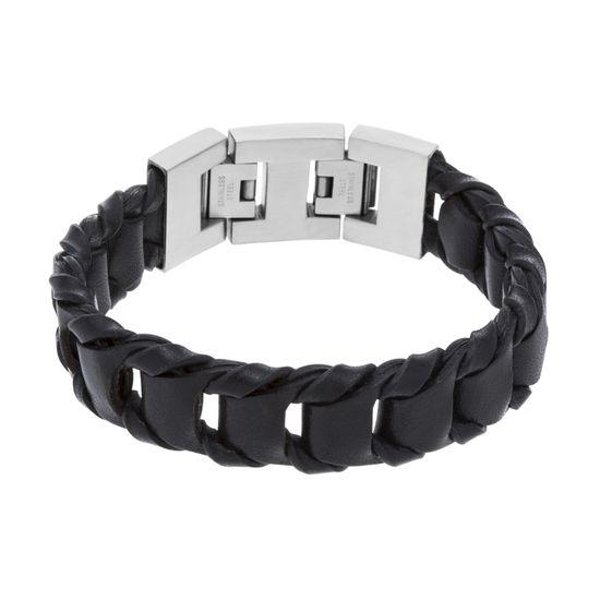 Imagen de Silver-Tone Stainless Steel Matted Fresh Water Brdd Lthr Bracelet