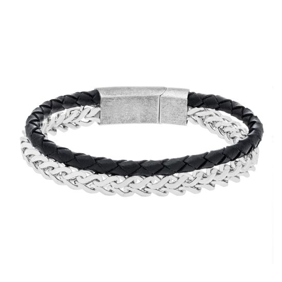 Imagen de Silver-Tone Stainless Steel Double Layer Black Braided Leather/Twisted Chain Bracelet