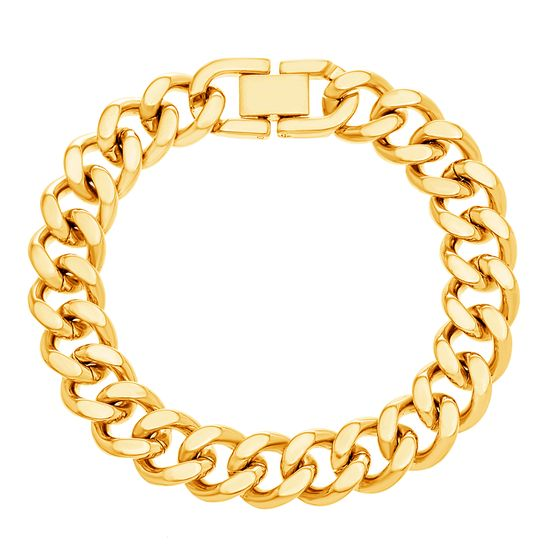 Imagen de Gold-Tone Stainless Steel 7 Polished Thick Curb Bracelet