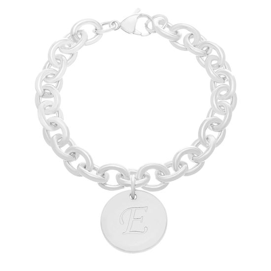 Picture of STAINLESS STEEL SILVER PLATED ROUND INITIAL E 7.5 ROLO CHAIN BRACELET