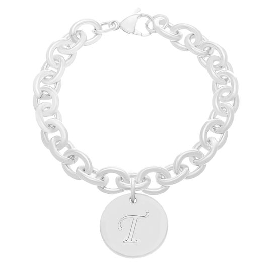 Imagen de STAINLESS STEEL SILVER PLATED ROUND INITIAL T 7.5 ROLO CHAIN BRACELET