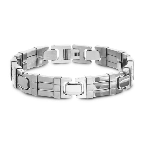 Imagen de Silver-Tone Stainless Steel Polished Ribbed Link Bracelet