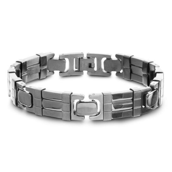 Imagen de Black-Tone Stainless Steel Polished Rubber Link Bracelet