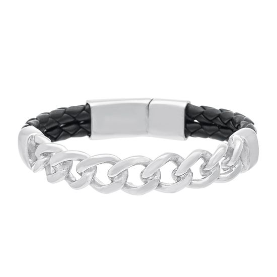 Imagen de Silver-Tone Stainless Steel Mens Curb Chain Charm 7.5 Black Double Strand Braided Leather Bracelet