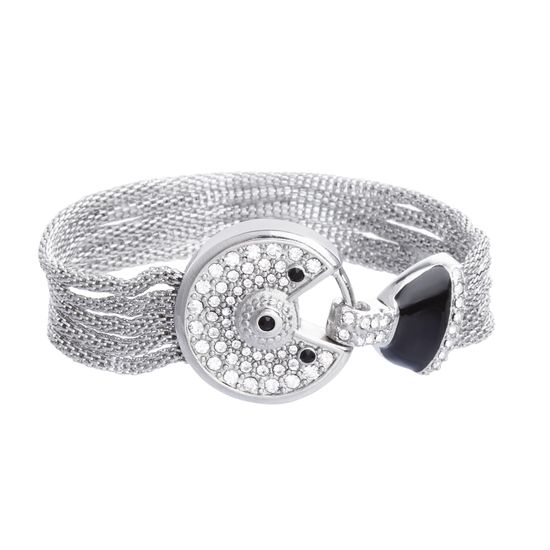 Imagen de Silver-Tone Stainless Steel Black and White Cubic Zirconia Bezel Center and Round Open Design Ring Mesh Bracelet