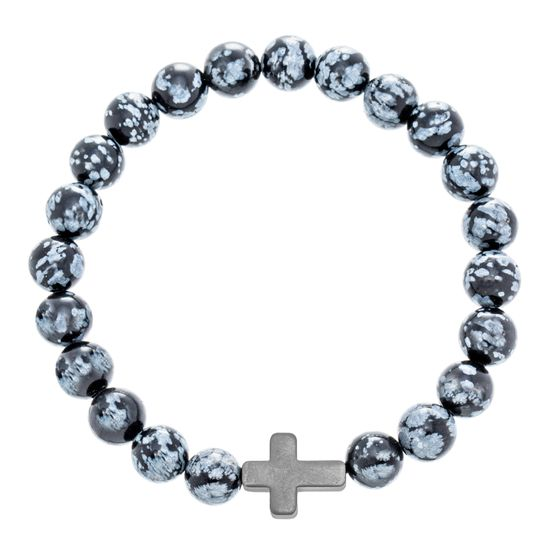 Picture of Silver-Tone Stainless Steel Black Cross Charm Beaded Bracelet