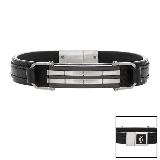 Imagen de Two Tone Black Stainless Steel Black Leather Strap Striped Bar Bracelet