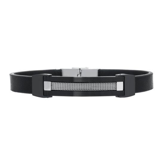 Imagen de Two Tone Black Stainless Steel Black Leather Strap Textured Bar Bracelet