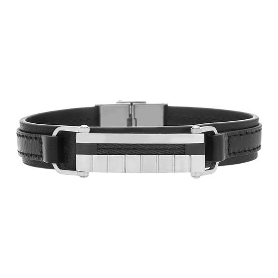 Imagen de Two Tone Black Stainless Steel Black Leather Strap Twisted Wire Bar Curved  Bracelet