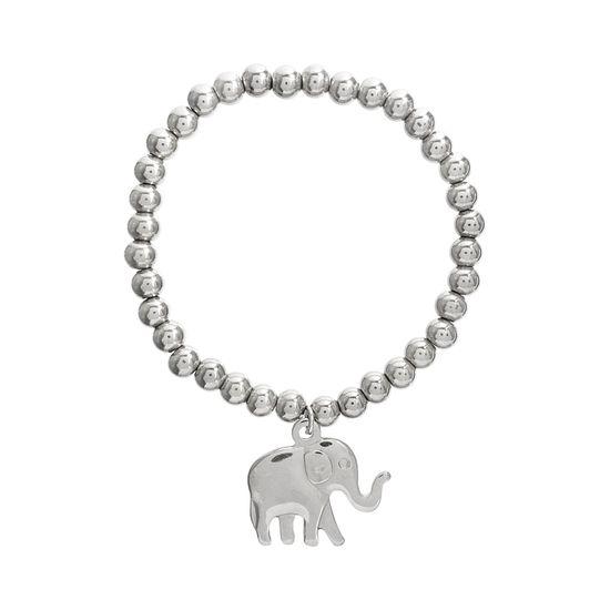 Imagen de Silver-Tone Stainless Steel Dangling Elephant Beaded Bracelet